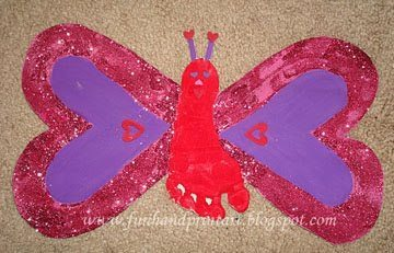 Heart-Shaped Footprint Butterfly Craft For Valentine's Day