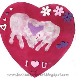 heart shaped handprint Valentine