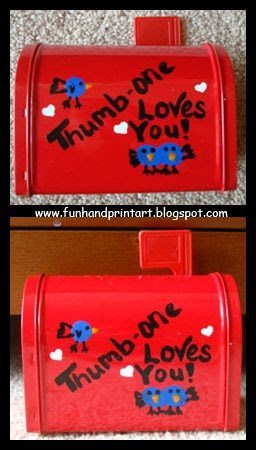 Thumbprint Love Birds - Kids Mailbox Craft Idea For Valentine's Day