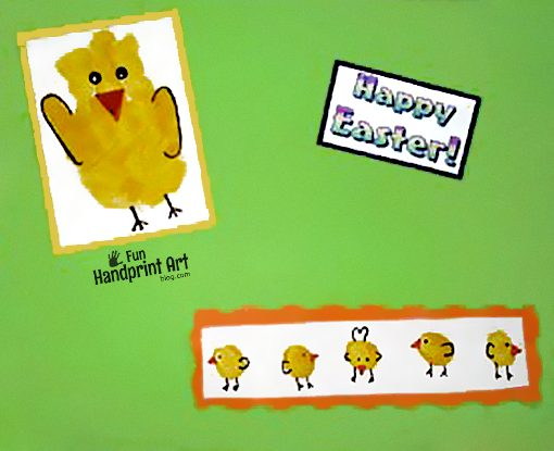 April Handprint Calendar Idea: Handprint and Thumbprint Baby Chicks