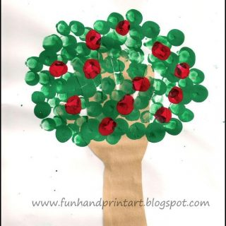 Traced Hand Tree with Fingerprint Apples