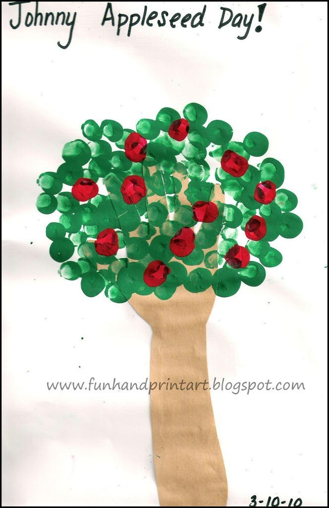 Traced Hand Tree with Fingerprint Apples Fall Craft for Kids