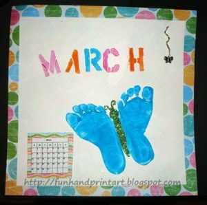 Beautiful Footprint Butterfly Craft - March Handprint Calendar Idea
