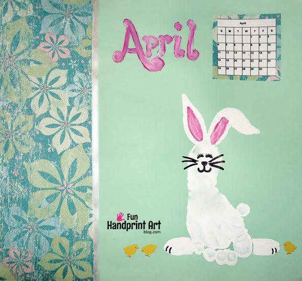 April Handprint Calendar : Footprint bunny for april s handprint calendar fun