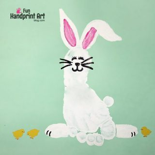 Kids Easter Craft: Footprint Bunny