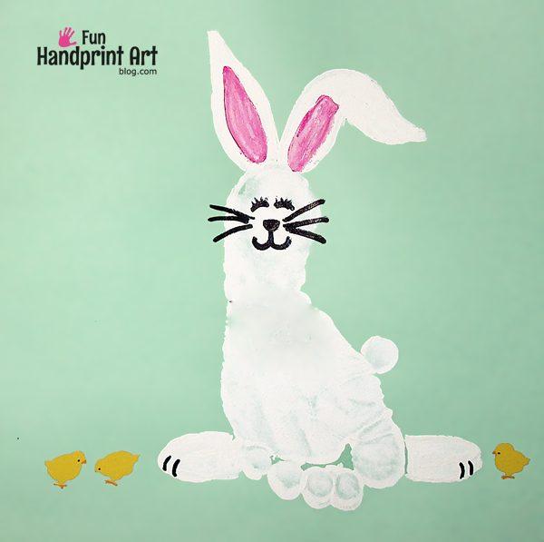 Footprint Bunny for April's Handprint Calendar 2 - Fun Handprint Art