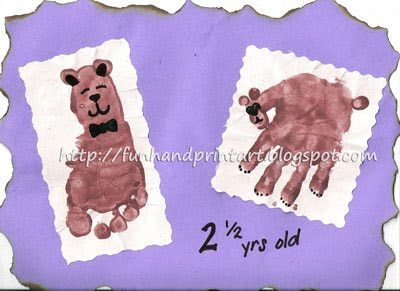 Handprint Bear and Footprint Teddybear - Fun Handprint Art