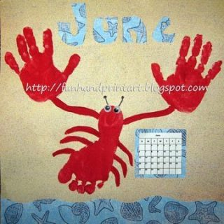 Handprint & Footprint Lobster for June – Handprint Calendar