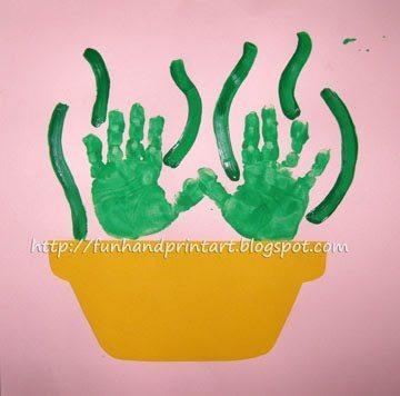 handprint flowerpot craft for mom