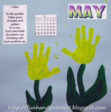May Handprint Calendar Idea: Handprint Tulips
