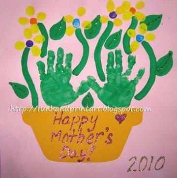 Happy Mother's Day! Handprint Flowerpot Craft Idea
