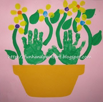 Thumbprint Flowers Mother's Day Flowerpot Craft Idea