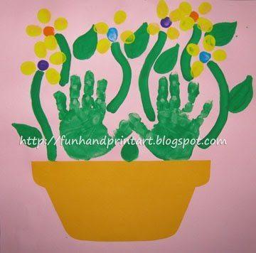 Thumbprint Flowers Mother's Day Flowerpot Craft Idea