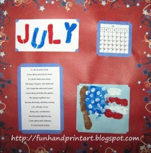Handprint American Flag Calendar Idea with Poem