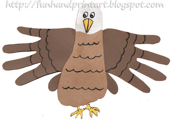 Handprint and Footprint Eagle Craft - Fourth of July