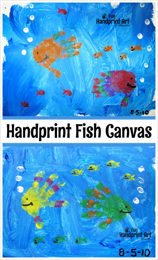 Canvas Art: Handprint Fish Painting Craft for Kids