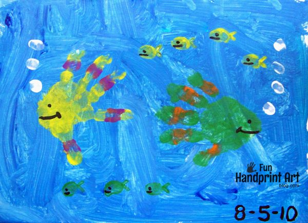 Fish Handprints Canvas Painting for Toddlers +