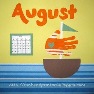 Handprint Sailboat for August – Handprint Calendar