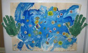 Handprint Magnets Holding Up Kids Artwork