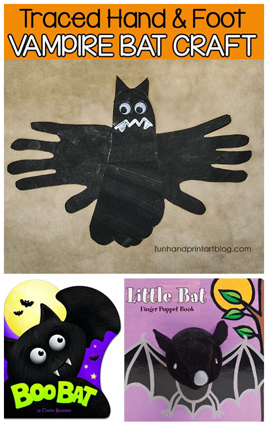 Cutout Traced Hand & Foot Vampire Bat Craft for Halloween - Toddlers & Preschoolers