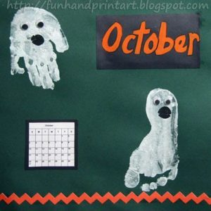 Cute Ghosts Made from painted a hand and foot for October Handprint Calendar