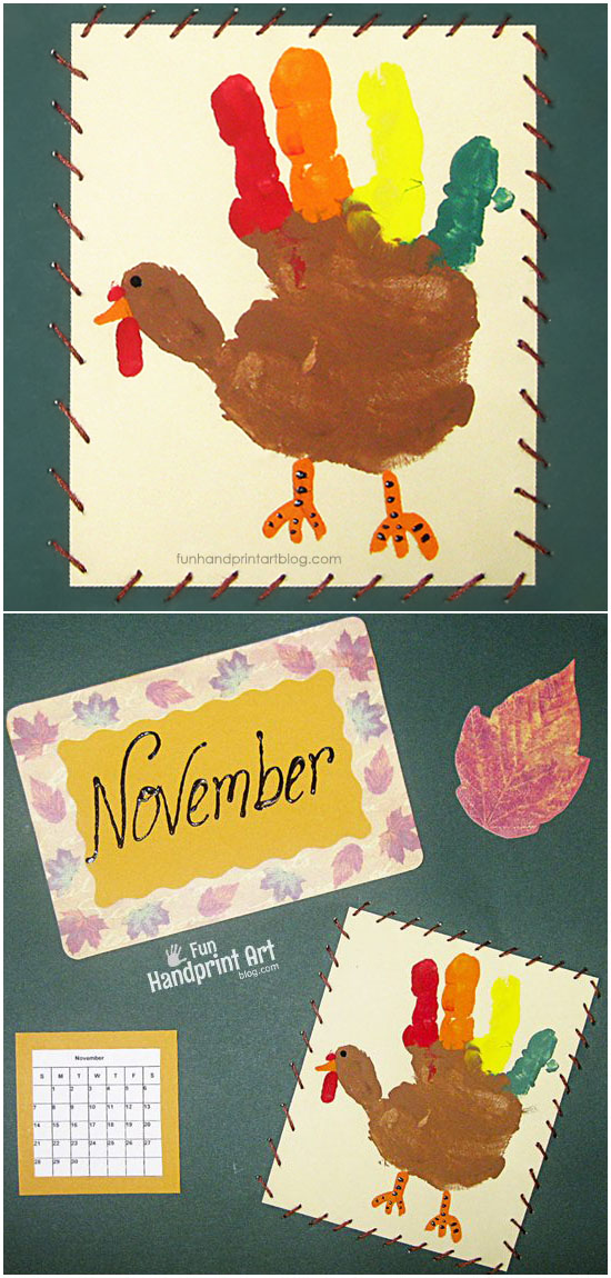 November Handprint Turkey Calendar Page