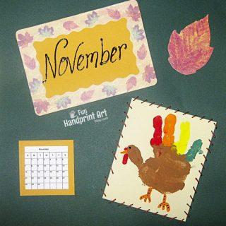 Handprint Turkey – November Calendar Page