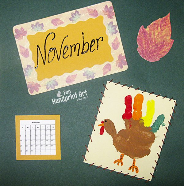 November Handprint Calendar Turkey Craft