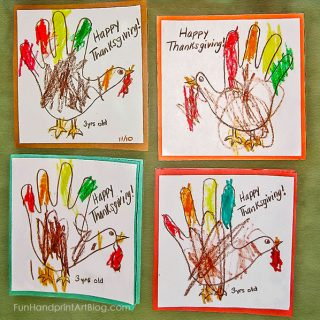 DIY Traced Hand Turkeys Thanksgiving Coloring Card Craft