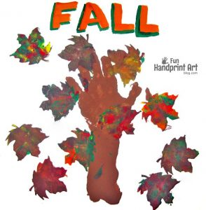 Fall Handprint Tree and Leaf Stamp