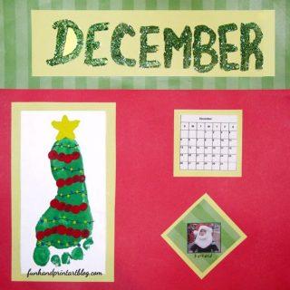 Footprint Christmas Tree for December's Calendar