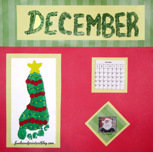 December Calendar Keepsake: Footprint Christmas Tree