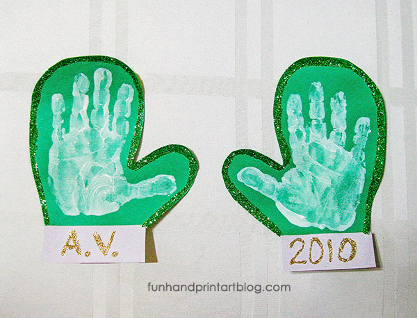 Sparkly Handprint Mittens Craft Easy Winter Craft For Kids