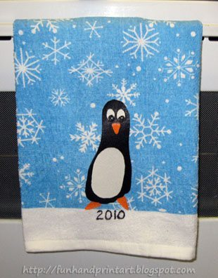 Penguin Christmas Cards Footprint.Footprint Penguin Christmas Towel Keepsake Fun Handprint Art