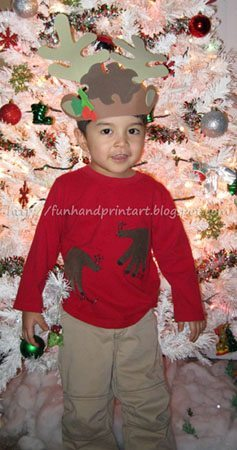 DIY Handprint Reindeer Shirt Tutorial for Christmas