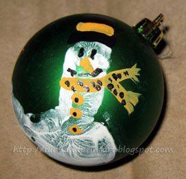 keepsake handprint snowman Christmas ornament tutorial