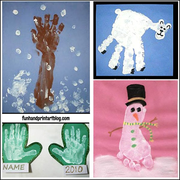 Winter Handprint Footprint Art Fun Handprint Art