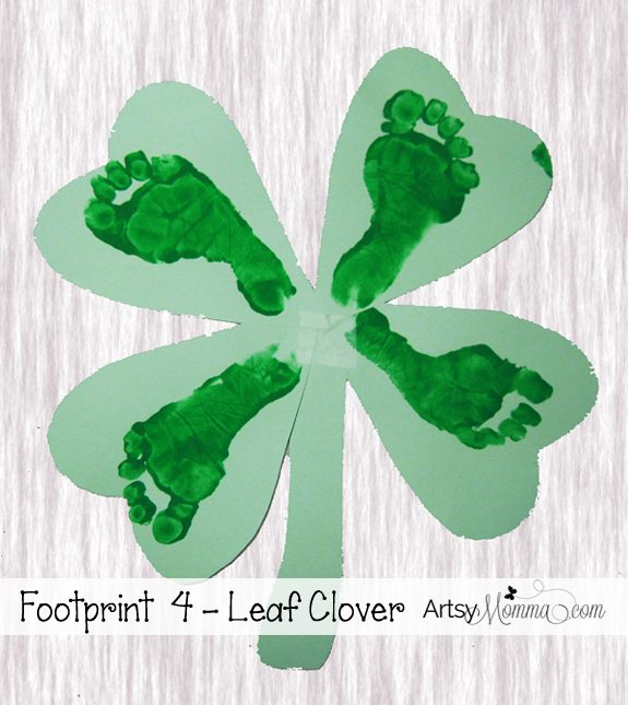 4 Leaf Clover Footprint Craft for St Patrick's Day