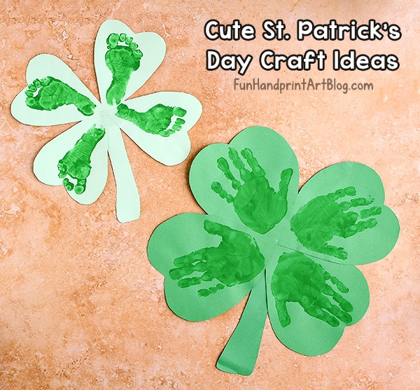 St. Patrick's Day Paper Crafts: Handprint & Footprint Clovers For Preschoolers