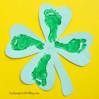 Four Leaf Clover Footprint Craft for babies and toddlers to make