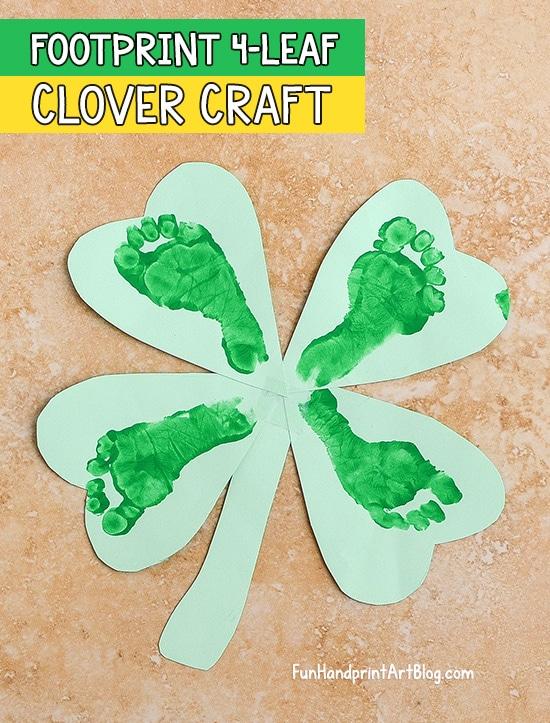 Lucky Four Leaf Clover Baby Footprint Art