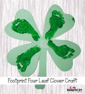 Four Leaf Clover Footprint Craft   St Patrick's Day Shamrock