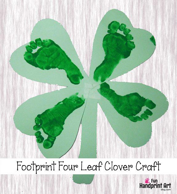 Four Leaf Clover Footprint Craft | St Patrick's Day Shamrock