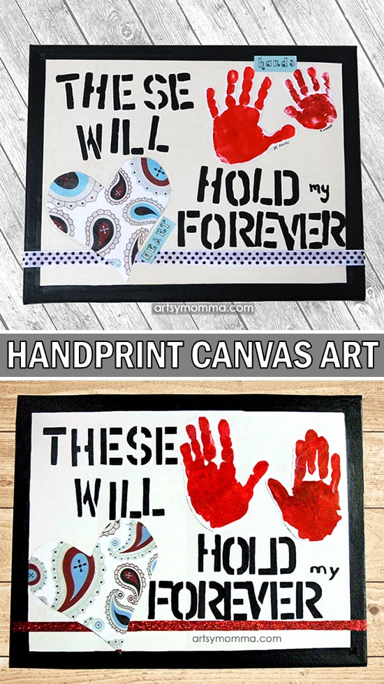 Handprint Canvas Art Keepsake with Sweet Saying - Makes an awesome gift and/or home decor idea!