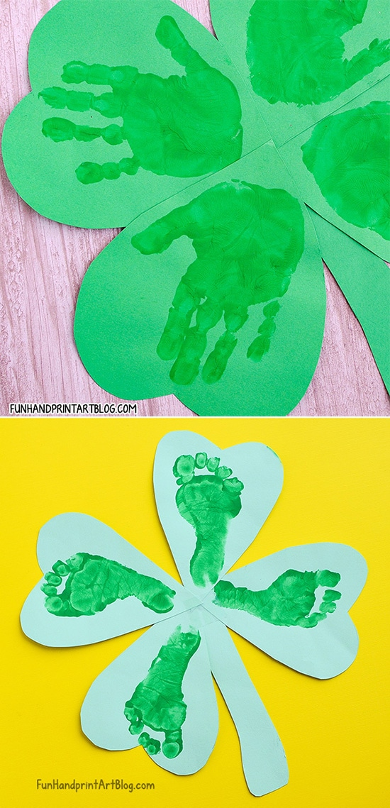 Four Leaf Clover Paper Crafts made with Handprints & Footprints