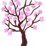 Fingerprint Cherry Blossom Tree for Spring - fun counting activity for preschoolers!