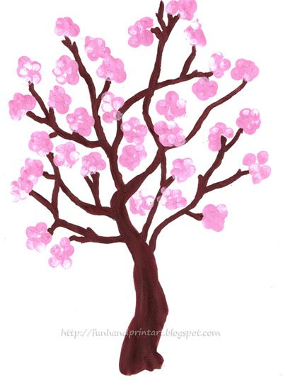 fingerprint spring cherry blossom tree fun handprint art