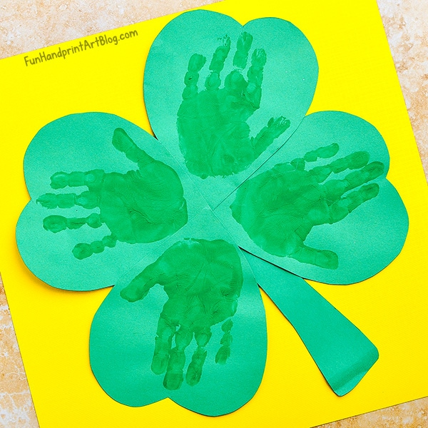 St. Patrick's Day Craft For Toddler - Handprint 4-leaf Clover