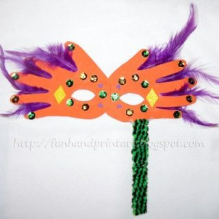 Handprint Mardi Gras Mask for Kids