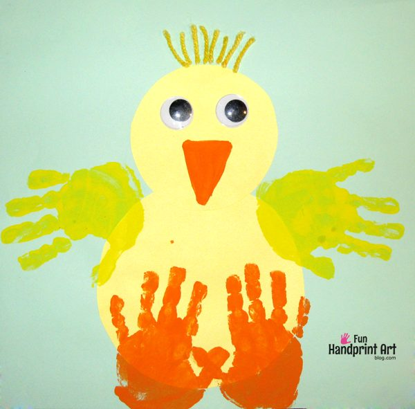 Handprint Baby Chick Craft + 2 Books About Baby Chicks